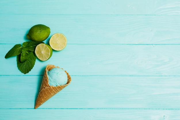 Lime and mint near ice-cream