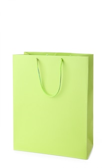 Lime shopping bag isolated on white background
