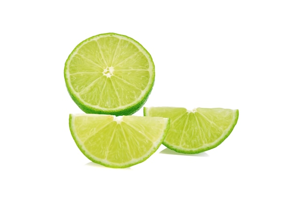Lime slice. fruit isolated on white background.
