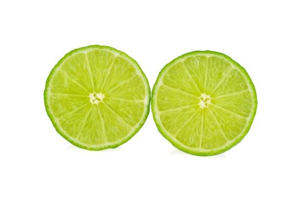 Lime slice. fruit isolated on white.