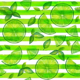 ライムスライスとミントは、緑と白のストライプの背景にシームレスなパターンを残します。夏の明るい背景。熱帯の有機柑橘類のスライスと水彩の手描きカクテルカラーモヒートテクスチャ。