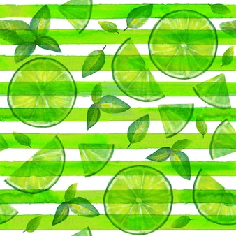 Lime slices and mint leaves seamless pattern on green and white stripes background. summer bright background. watercolor hand drawn cocktail color mojito texture with tropical organic citrus slices.