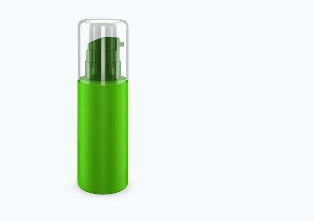 배경에서 분리 된 라임 스프레이 부 틀 모형 : 샴푸 플라스틱 부 틀 패키지 디자인. 빈 위생, 의료, 신체 또는 얼굴 관리 템플릿. 3d 그림