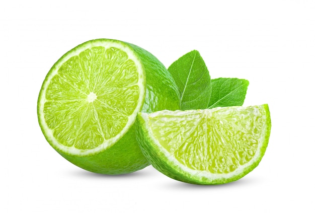 Lime with leaf isolated