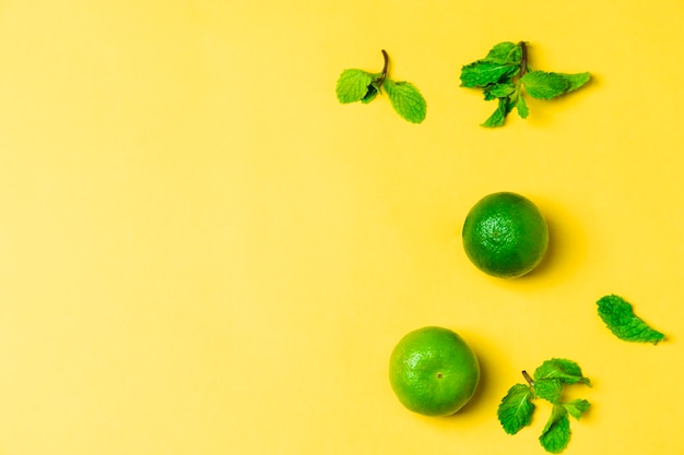 Lime on yellow backdrop