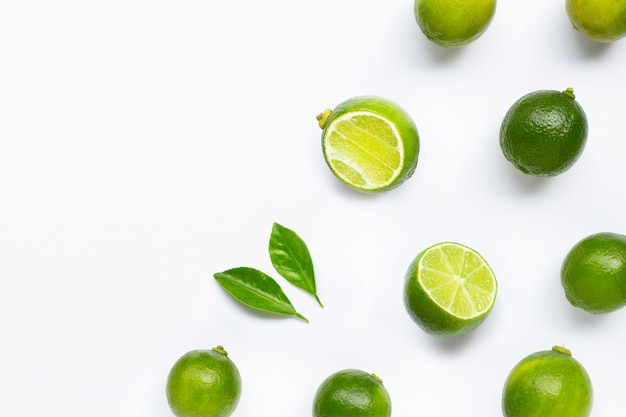 Limes isolated on white background.