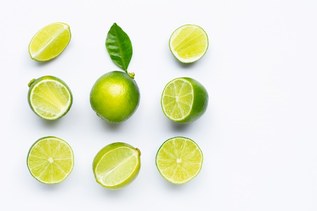 Limes isolated on white.