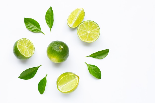 Limes with leaves isolated