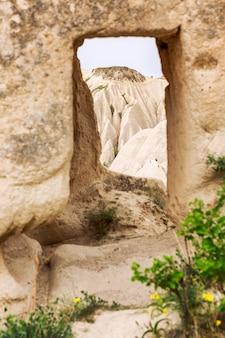 Limestone mountains in the valleys of cappadocia.