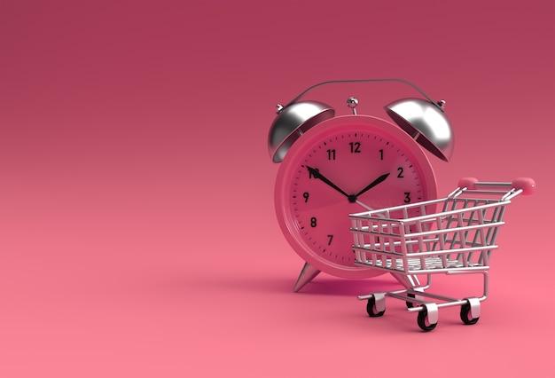 黄色の3dレンダリングの背景に分離されたレトロな目覚まし時計付きの期間限定のショッピングカート