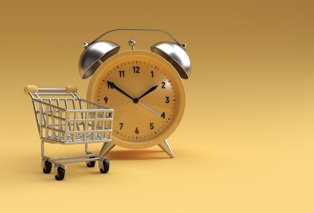黄色の背景に分離されたレトロな目覚まし時計と期間限定のショッピングカート