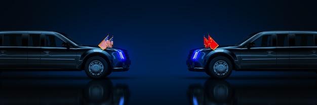 Лимузин из сша и китая, сша и китай, торговая война 3d-рендеринга