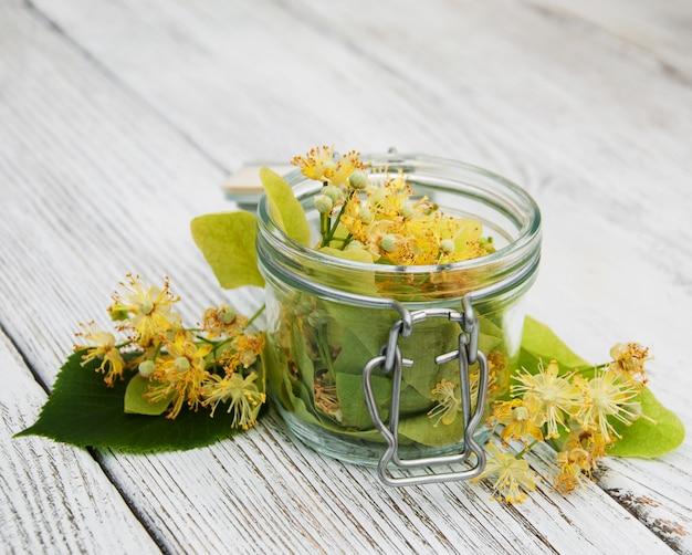 Linden flowers in a jar