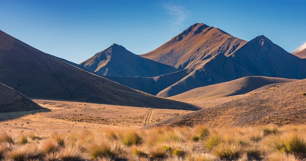 Lindiss pass in autumn, south island, new zealand between omarama & cromwell with field &