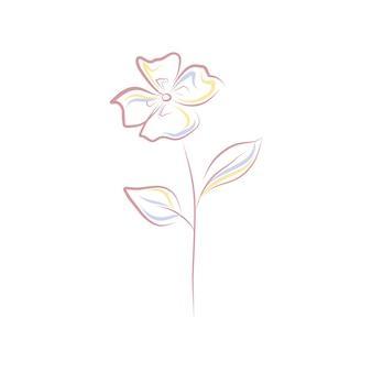 Line art flower clip art isolated on white background pink floral outline illustration