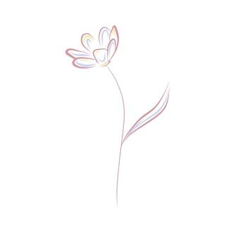 Line art flower clip art isolated on white background pink poppy outline illustration