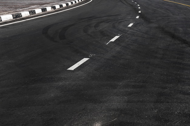 Line in the asphalt road ,copy space of road line texture abstract background