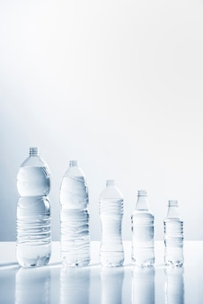 Line of bottles of water