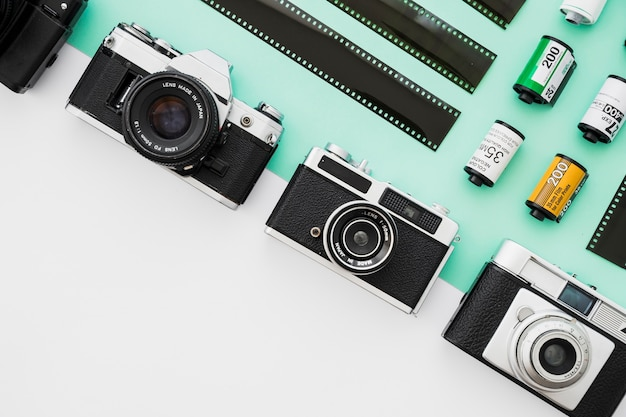 Line of cameras near film