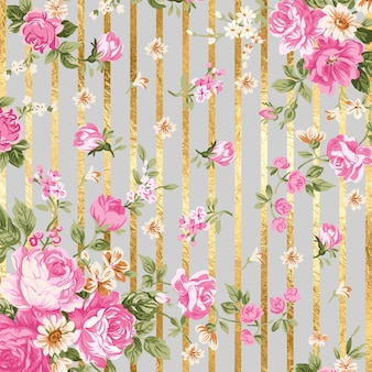 Line gray floral background texture with gold lines