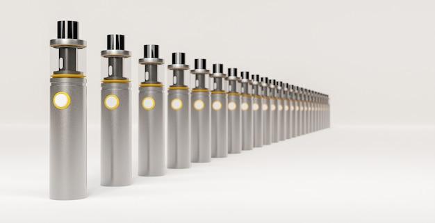 Линия серебряных электронных сигар с золотыми деталями и белой размытой поверхностью