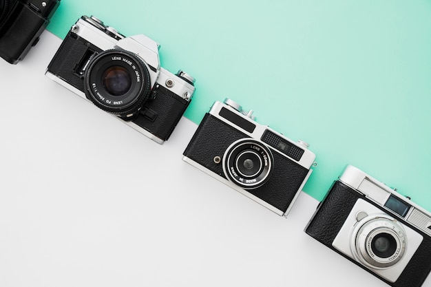 Line of retro cameras