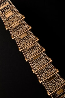 Line of supermarket trolley top view