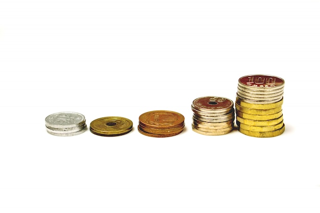 Line up stacked of japan yen currency coins
