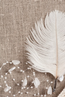 Linen background with white feather