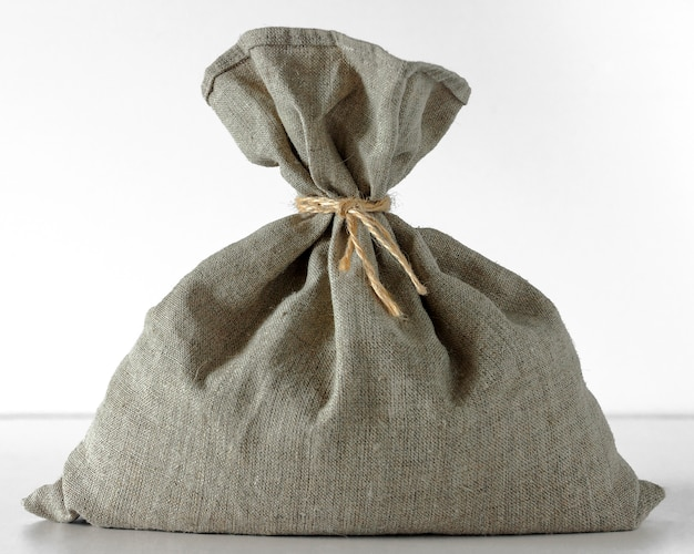 Linen bag standing on a white background