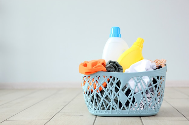 Linen in a basket in the interior of the room