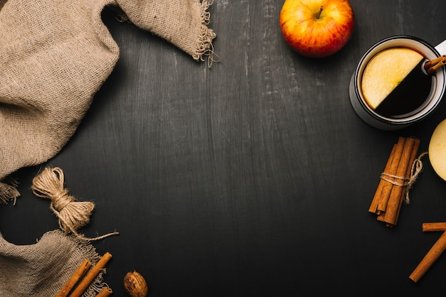 Linen cloth and autumn food composition