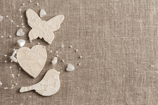 Linen cloth with white butterfly