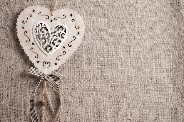 Linen with xmas hearts with copyspace