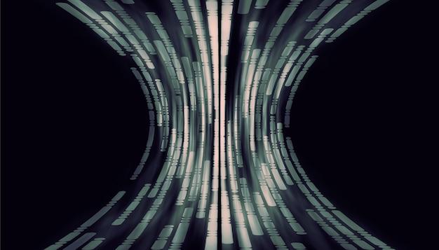 線と曲線の点黒い背景にハイテクデジタル技術の概念抽象的な未来的な線の背景