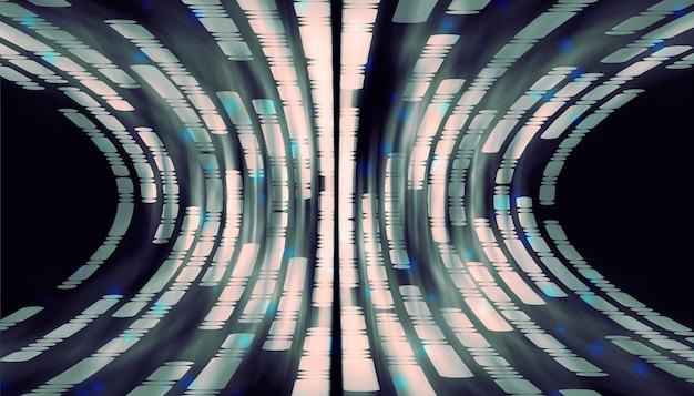 青い背景の線と点将来の曲線の配置の抽象的な線