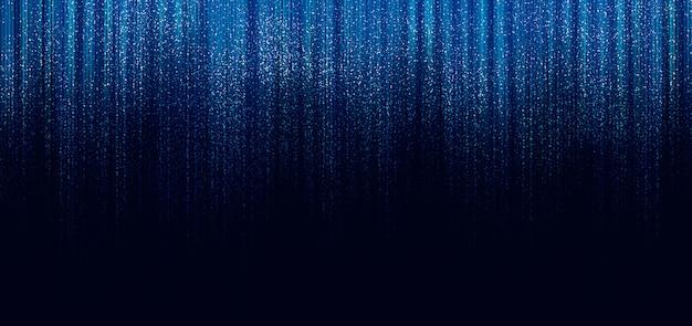黒い背景に線と光が落ちるきらめく青い線がきらめく