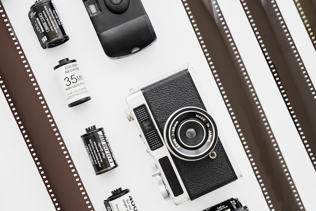 Lines of cameras and cartridges near film