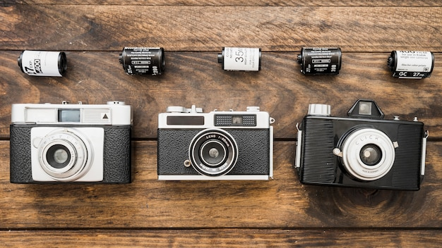 Lines of cameras and film cassettes