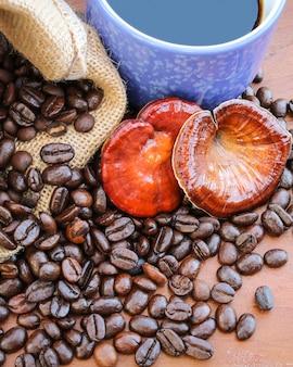 Lingzhi 버섯, 나무 테이블에 커피와 커피 콩의 reishi 버섯 컵