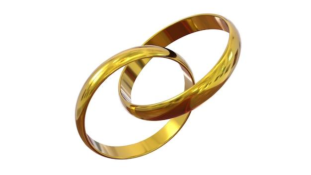 Связанные обручальные кольца, изолированные на белом фоне