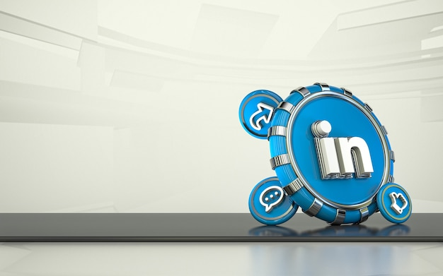 Linkedin 3d rendering social media icon isolated background