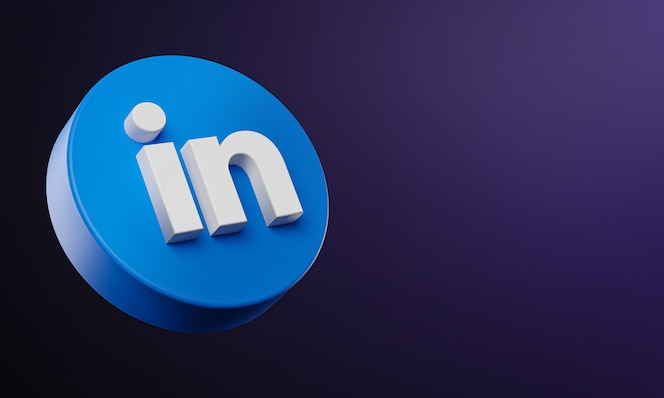 Linkedin circle button icon 3d with copy space