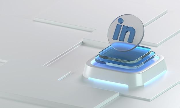 Linkedin 유리 기하학 모양 3d 아이콘 렌더링