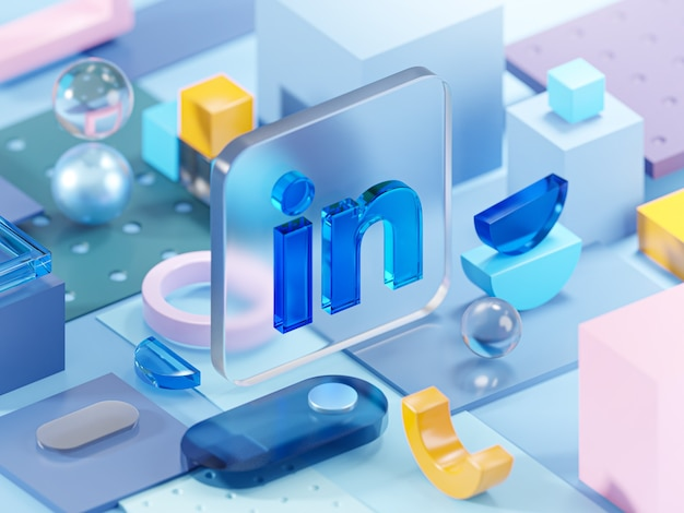 Linkedin glass geometry shapes abstract composition art 3d rendering