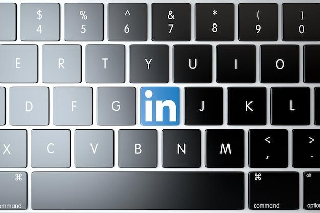 Linkedin icon on laptop keyboard. technology concept
