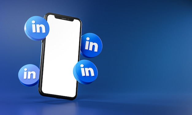 Linkedin icons around smartphone app 3d rendering
