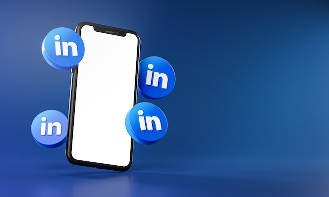 Linkedin icons around smartphone app 3d rendering