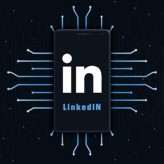 기술 배경 3d에 전화 화면에 linkedin 로고 아이콘