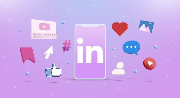 Значок логотипа linkedin на телефоне с иконками социальных сетей вокруг 3d